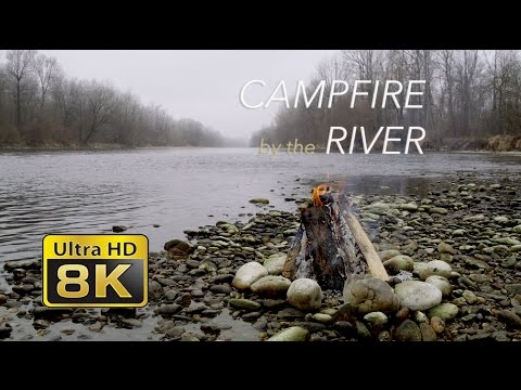 8K Campfire by the River - Relaxing Fireplace & Nature Sounds - UHD 4320p - RED EPIC-W 8K S35 HELIUM