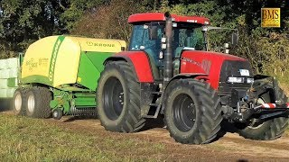 Gras pressen / wickeln mit Case Trecker Krone, Fendt und Göweil / Field grass press and wrap farmer