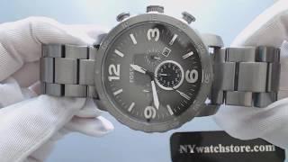 Men's Fossil Nate Chronograph Smoke Steel Watch JR1437