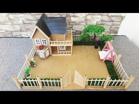 How To Make A Beautiful Cardboard Mansion House with Fairy Garden - Popsicle Stick Crafts