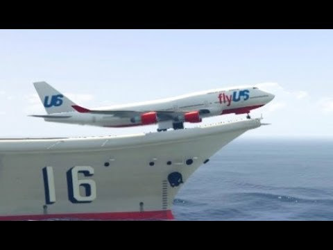 GTA 5- Exceptional Landing by Airplane(Jumbo jet) at Fighter ship