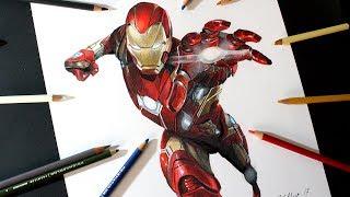 Cómo dibujo a IronMan con Lápices de colores | How to draw IronMan