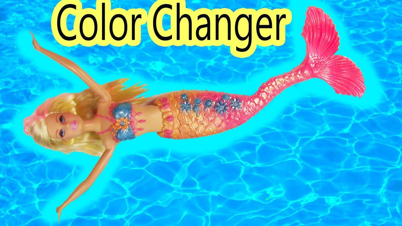 barbie change changer water pool bath toy glitter doll