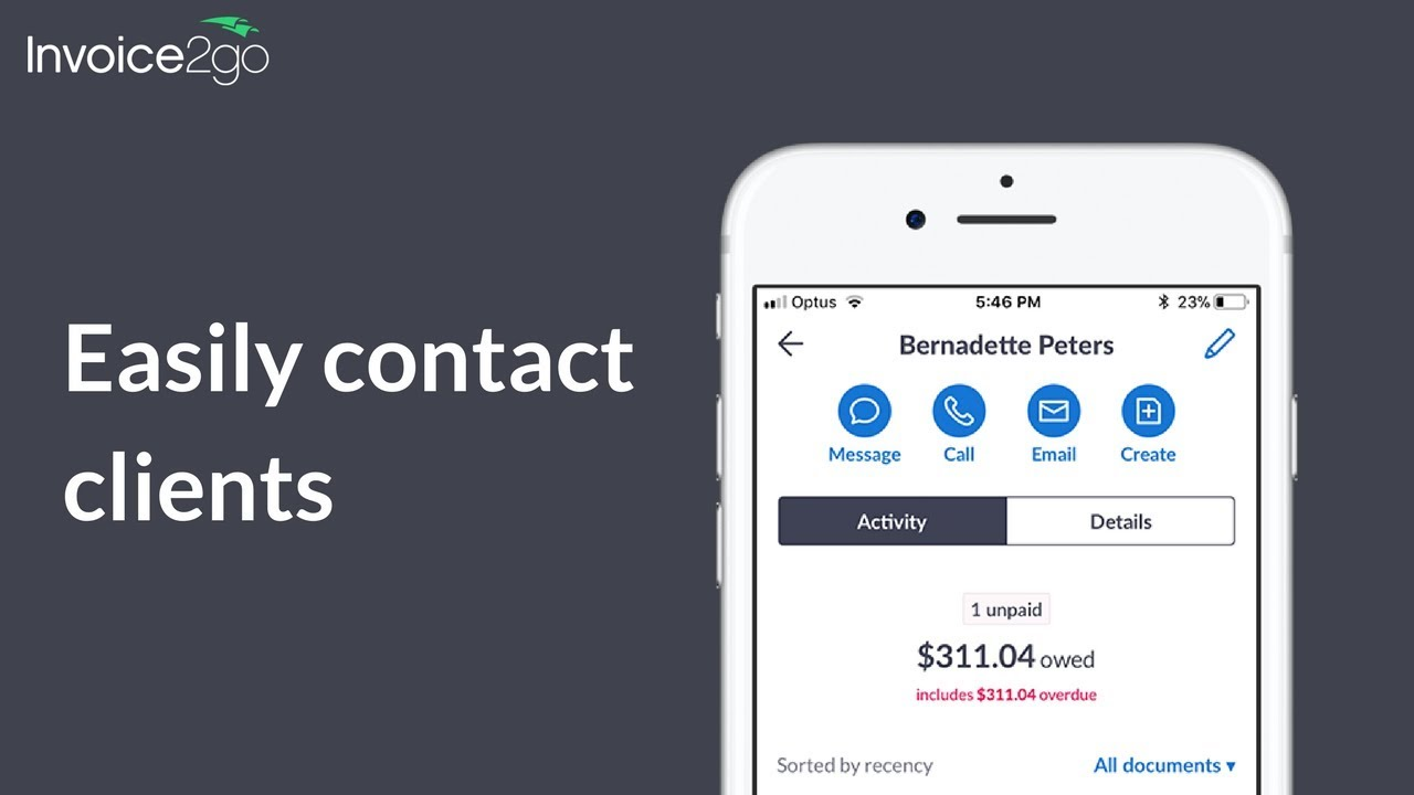 How To Contact Clients Straight From The Invoicego App YouTube - Invoice2go app