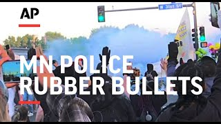 Minneapolis police fire rubber bullets at protesters
