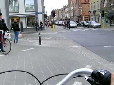 Timelapse Bicycling through City Gate:  Bruges, Belgium