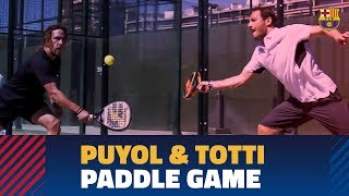 Puyol and Totti take part in paddle tennis doubles game