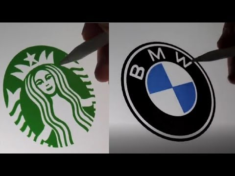 I Recreated Famous Logos by HAND! | Starbucks Pepsi etc.