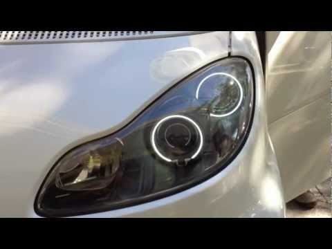 smart fortwo 451 brabus type headlights with angel eyes youtube. Black Bedroom Furniture Sets. Home Design Ideas
