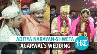 Aditya Narayan ties the knot with Shweta Agarwal; Udit Narayan dances in baraat