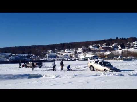 Stuck off of the Ice Road Bayfield to Madeline Island Wisconsin January 18, 2014