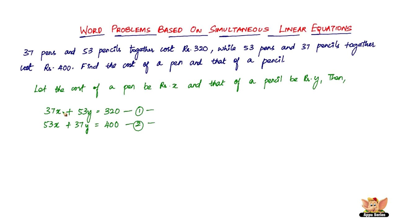 Solving Linear Equations Word Problems Youtube