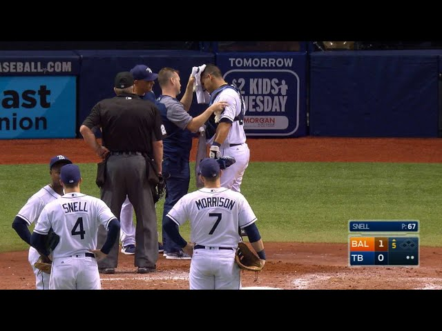 BAL@TB: Ramos exits after getting hit by bat