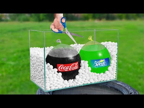 Experiment: Giant Balloons Of Coca Cola & Sprite VS Mentos