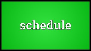 Video shows what schedule means. A slip of paper; a short note.. An...