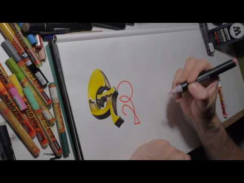 GRAFFITI FOR BEGINNERS - drawing lesson - how to make letters - realtime - full movie
