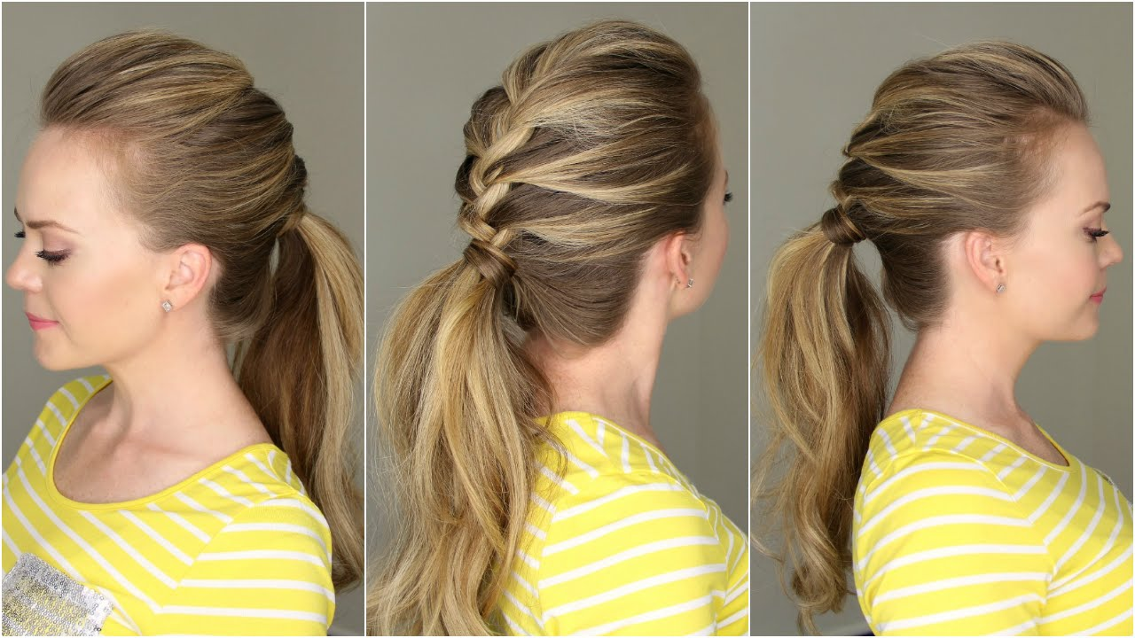 crown braid into ponytail. crown braid into ponytail