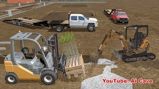 Forklift, excavator and pickup trucks on construction site - Farming Simulator 2017 Mods