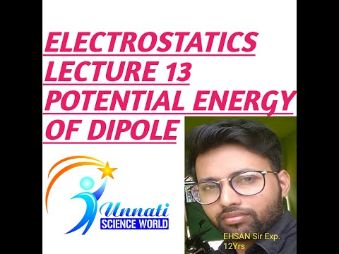 Physics 12th Chapter 1 (electrostatics) Lecture 13 (potential Energy Of A Dipole In Uniform Field)