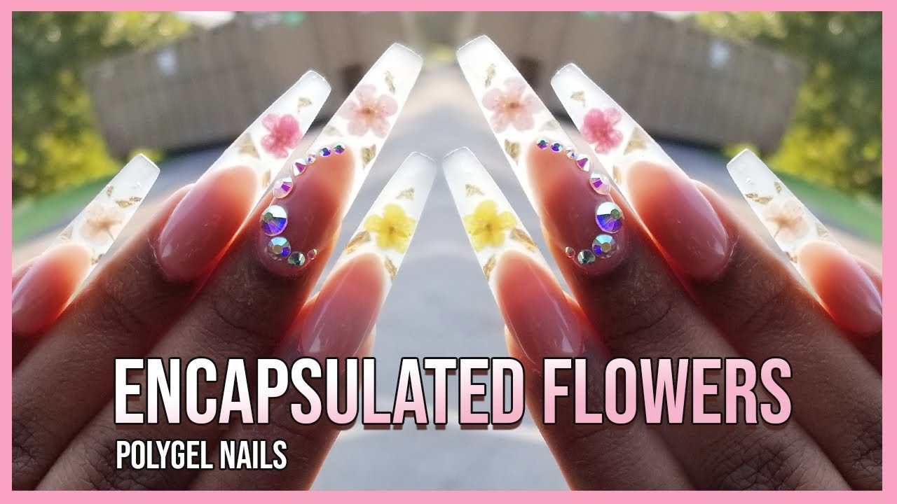 Polygel Nails - Glass Tips Encapsulating Real Flowers with Polygel - LongHairPrettyNails