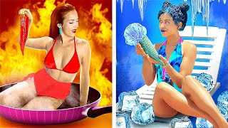 تحدي الساخن مقابل البارد! || الفتاة التي تشعر بالحر مقابل التي تشعر بالبرد