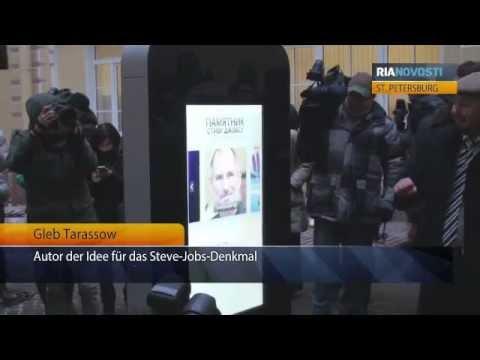 Interaktives Steve-Jobs-Denkmal in St. Petersburg eröffnet