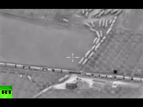 Alleged militant supply column coming from Turkey to Syria spotted by Russian drone
