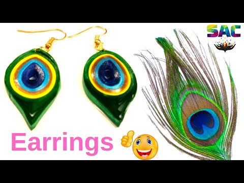 How to make Peacock Feather Earrings at Home | Peacock Feather Earrings Tutorial | Paper Earrings