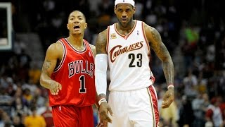 LeBron James vs Derrick Rose Superstars Duel 2010 Playoffs R1G2 - SICK 63 Pts, 16 Assists Combind!