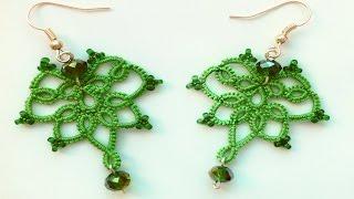Серьги фриволите иглой с бусинами и бисером. Видео мк для начинающих. Frivolite earrings needle