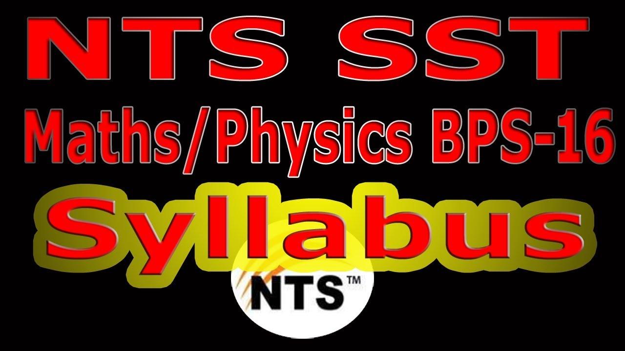 SST Maths/Physics BPS-16 NTS Test Syllabus