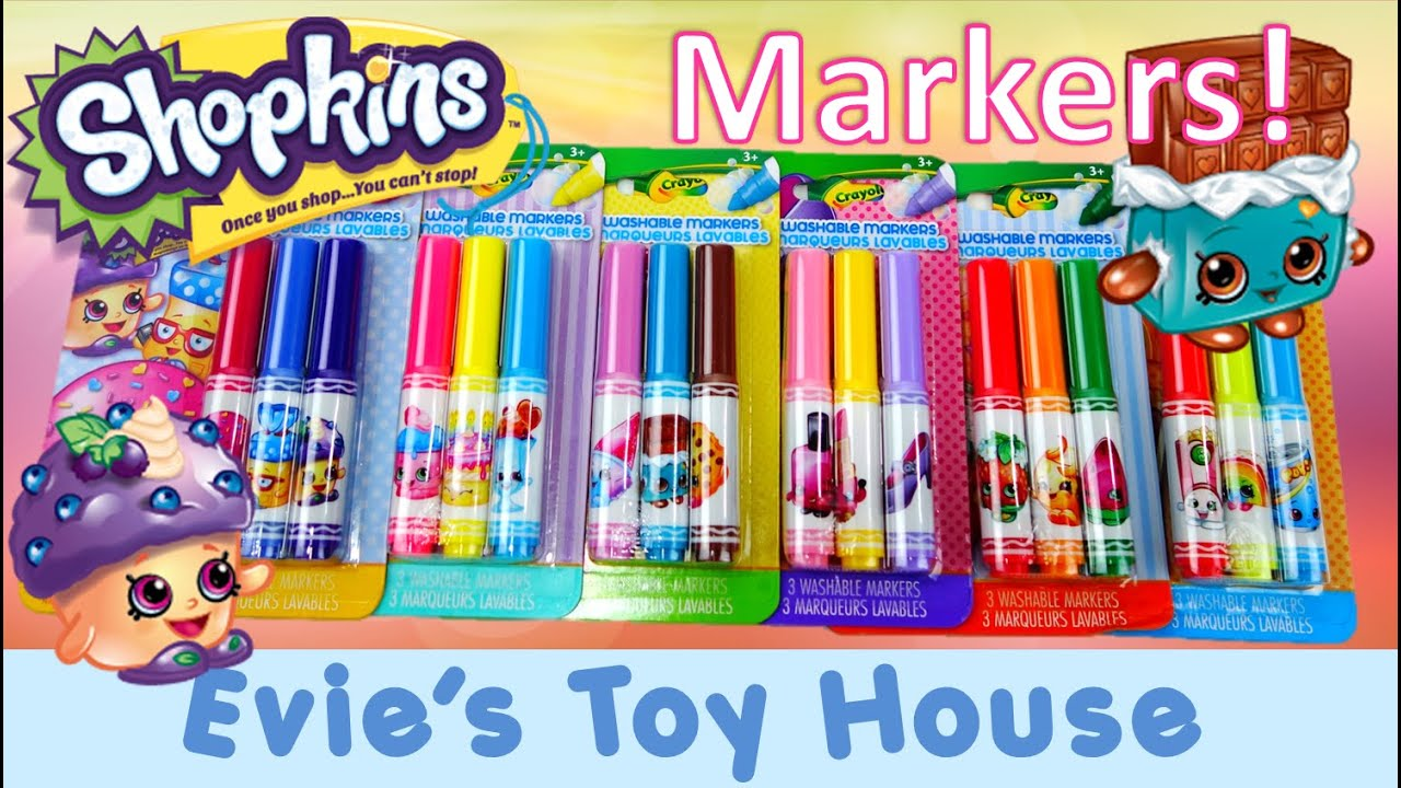 crayola coloring shopkins markers set review evies toy house youtube