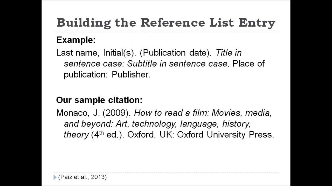 citations apa style This instructional video is designed for graduate students who are required to use apa formattting for research papers examples for reference entries and.