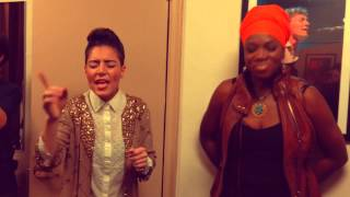 Emily King sings Radio with India Arie backstage at The Beacon Theater, NYC 2013