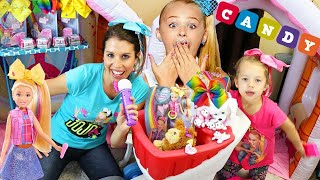 Jojo Siwa Kid In a Candy Store & Toy Store Skit HAIR BOWS For Sale + Singing Boomerang Doll Toys