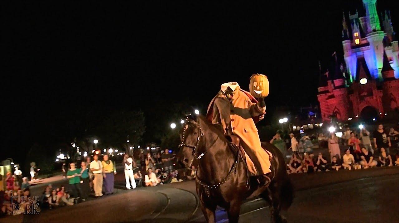 Walt Disney World's Headless Horseman galavanting through the streets during Halloween