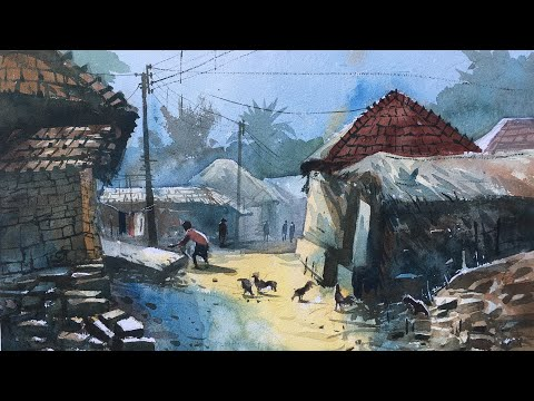 Watercolor Painting Of Tribal Village On The Spot Demonstration.