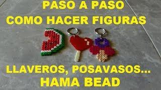 Como hacer llaveros/ posavasos con Hama Beads Paso a Paso 2014