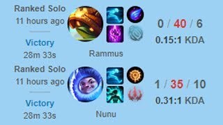 WINNING RANKED in DIAMOND with 0/40 Rammus and 1/35 Nunu!