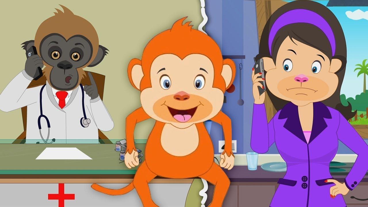 Cinq Petits Singes Singes Comptines Five Little Monkeys Youtube