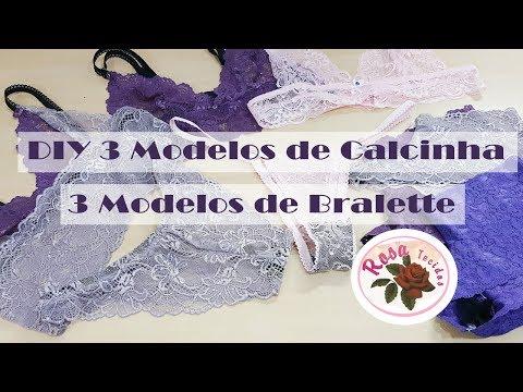 DIY - 6 Modelos de Lingerie + Molde - Curso de Corte e Costura - Passo a Passo