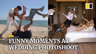 Funny behind-the-scenes moments at Chinese wedding photoshoot