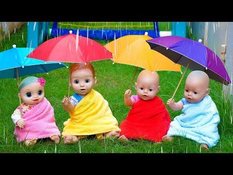 Rain Rain Go Away Song With Linda And Little Baby Dolls