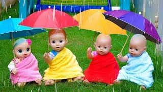 Rain Rain Go Away Song with Linda and Little Baby Dolls