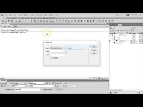 Basic layout using Dreamweaver drag-and-drop semantic tags