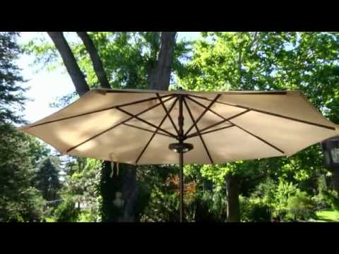 Coral Coast 9 Ft. Olefin Auto Tilt Aluminum Patio Umbrella With Light    Product Review Video