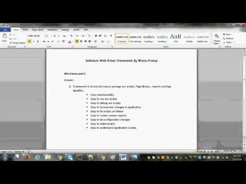Selenium Framework and Components of framework for Interview video-0.avi