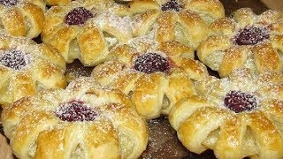 Ананасовое печенье из слоеного теста - Цветочки