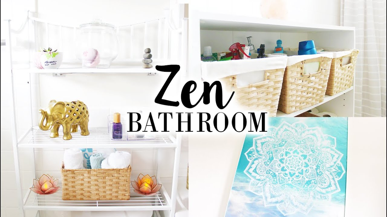 Small Bathroom Makeover | Zen Themed Decor & DIYs - YouTube