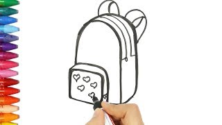 How to draw and color a backpack 💼   Drawing and coloring a blue bag   How to Draw and Color KidsTV